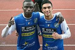 Fabrice Tapé och Daniel Krezic gjorde målen i segermatchen mot Kristianstad. FOTO: Susann Sannefjäll