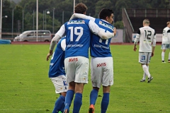 Målfirande i matchen mot Norrby på Rimnersvallen. FOTO: Susann Sannefjäll